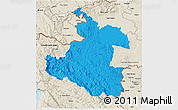 Political 3D Map of Karlovac, shaded relief outside
