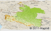 Physical Panoramic Map of Karlovac, shaded relief outside