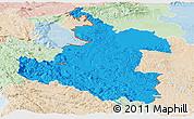 Political Panoramic Map of Karlovac, lighten