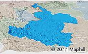 Political Panoramic Map of Karlovac, lighten, semi-desaturated