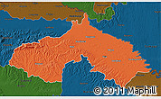 Political 3D Map of Koprivnica-Krizevci, darken