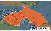 Political 3D Map of Koprivnica-Krizevci, darken, semi-desaturated