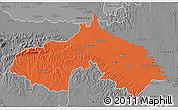 Political 3D Map of Koprivnica-Krizevci, desaturated