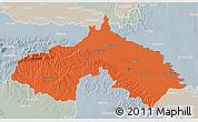 Political 3D Map of Koprivnica-Krizevci, lighten, semi-desaturated
