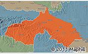 Political 3D Map of Koprivnica-Krizevci, semi-desaturated