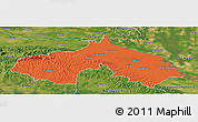 Political Panoramic Map of Koprivnica-Krizevci, satellite outside