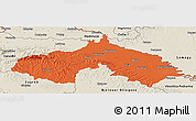 Political Panoramic Map of Koprivnica-Krizevci, shaded relief outside