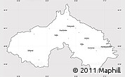 Silver Style Simple Map of Koprivnica-Krizevci, cropped outside