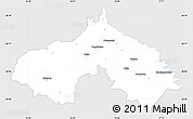 Silver Style Simple Map of Koprivnica-Krizevci, single color outside