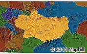 Political 3D Map of Krapina-Zagorje, darken