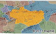 Political 3D Map of Krapina-Zagorje, semi-desaturated