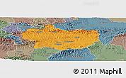 Political Panoramic Map of Krapina-Zagorje, semi-desaturated