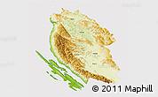 Physical 3D Map of Lika-Senj, cropped outside
