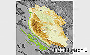 Physical 3D Map of Lika-Senj, darken, desaturated