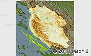 Physical 3D Map of Lika-Senj, darken