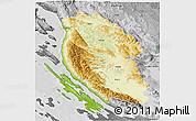 Physical 3D Map of Lika-Senj, desaturated