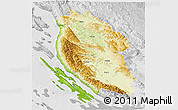 Physical 3D Map of Lika-Senj, lighten, desaturated
