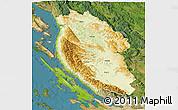 Physical 3D Map of Lika-Senj, satellite outside