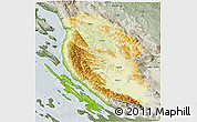 Physical 3D Map of Lika-Senj, semi-desaturated