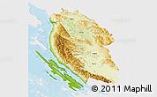 Physical 3D Map of Lika-Senj, single color outside