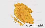 Political 3D Map of Lika-Senj, cropped outside