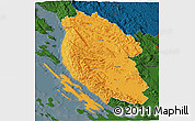 Political 3D Map of Lika-Senj, darken