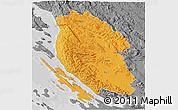 Political 3D Map of Lika-Senj, desaturated