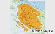 Political 3D Map of Lika-Senj, lighten