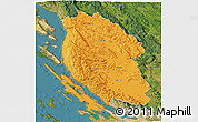 Political 3D Map of Lika-Senj, satellite outside