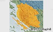 Political 3D Map of Lika-Senj, semi-desaturated