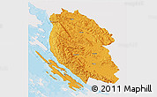 Political 3D Map of Lika-Senj, single color outside