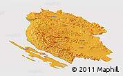 Political Panoramic Map of Lika-Senj, cropped outside