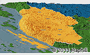 Political Panoramic Map of Lika-Senj, darken