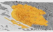 Political Panoramic Map of Lika-Senj, desaturated