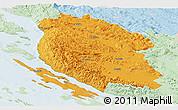 Political Panoramic Map of Lika-Senj, lighten