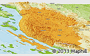 Political Panoramic Map of Lika-Senj, physical outside
