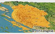 Political Panoramic Map of Lika-Senj, satellite outside