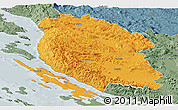 Political Panoramic Map of Lika-Senj, semi-desaturated