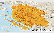 Political Panoramic Map of Lika-Senj, shaded relief outside