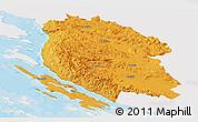 Political Panoramic Map of Lika-Senj, single color outside