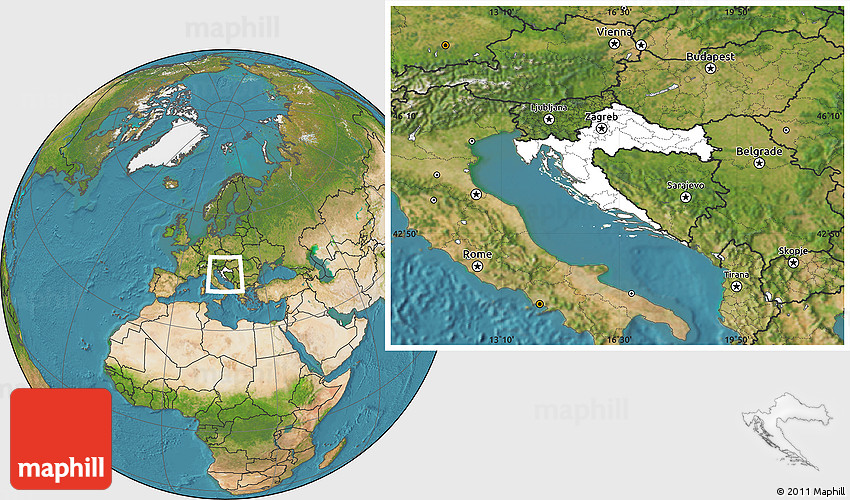 Blank Location Map of Croatia satellite outside