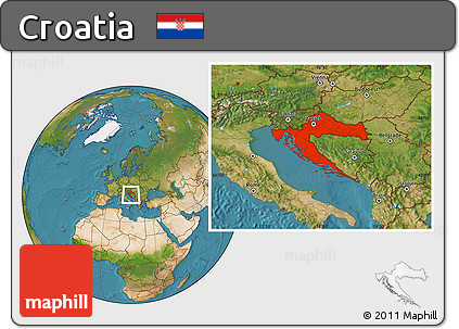 Satellite Location Map of Croatia
