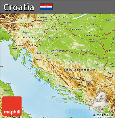 Physical Map of Croatia
