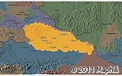 Political 3D Map of Medimurje, darken, semi-desaturated