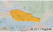 Political 3D Map of Medimurje, lighten, semi-desaturated