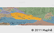 Political Panoramic Map of Medimurje, semi-desaturated
