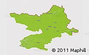 Physical 3D Map of Osijek-Baranja, cropped outside