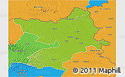 Physical 3D Map of Osijek-Baranja, political outside