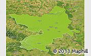 Physical 3D Map of Osijek-Baranja, satellite outside