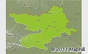 Physical 3D Map of Osijek-Baranja, semi-desaturated